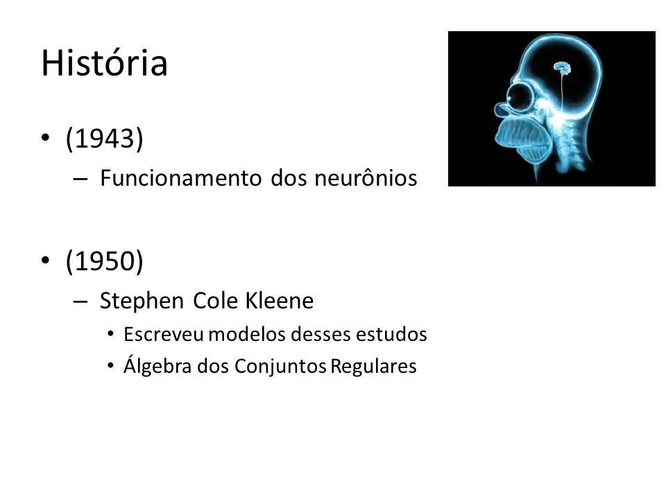 (1943) – Funcionamento dos neurônios (1950) – Stephen Cole Kleene Escreveu modelos desses estudos Álgebra dos Conjuntos Regulares