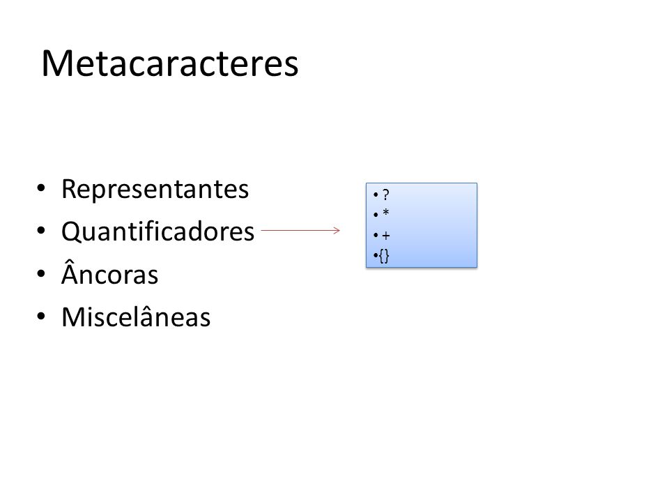 Representantes Quantificadores Âncoras Miscelâneas Metacaracteres * + {} * + {}