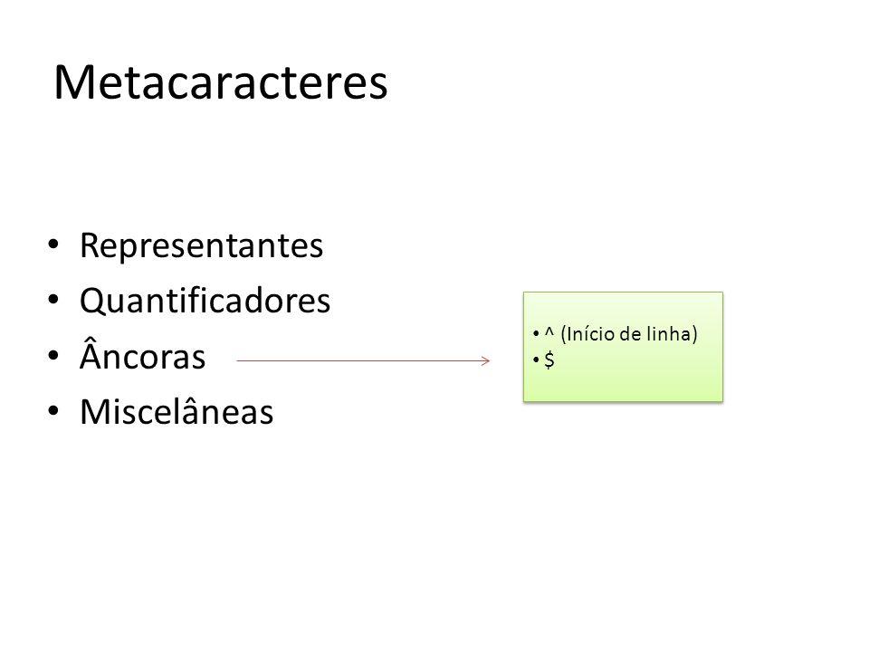 Representantes Quantificadores Âncoras Miscelâneas Metacaracteres ^ (Início de linha) $ ^ (Início de linha) $
