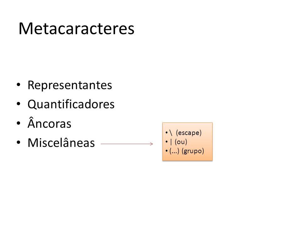 Representantes Quantificadores Âncoras Miscelâneas Metacaracteres \ (escape) | (ou) (...) (grupo) \ (escape) | (ou) (...) (grupo)