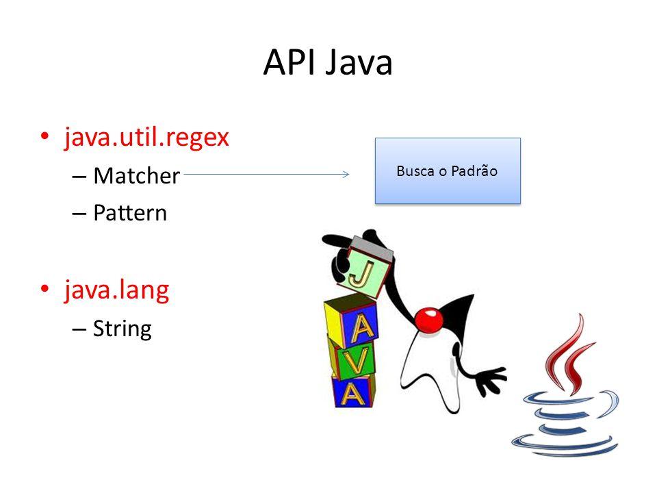 API Java java.util.regex – Matcher – Pattern java.lang – String Busca o Padrão