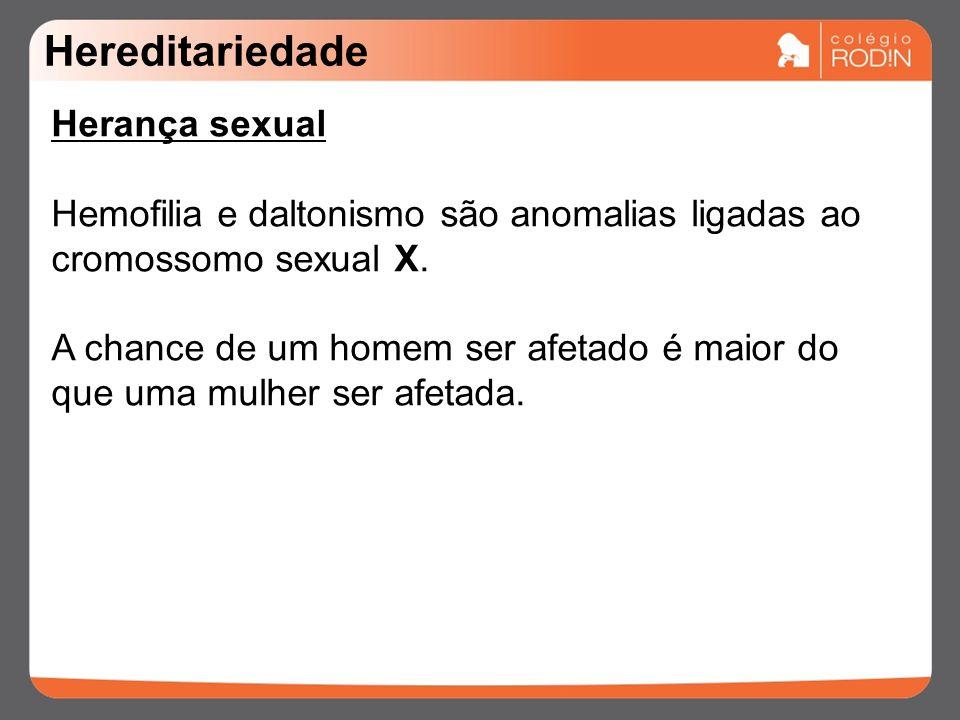 Hereditariedade Herança sexual Hemofilia e daltonismo são anomalias ligadas ao cromossomo sexual X.