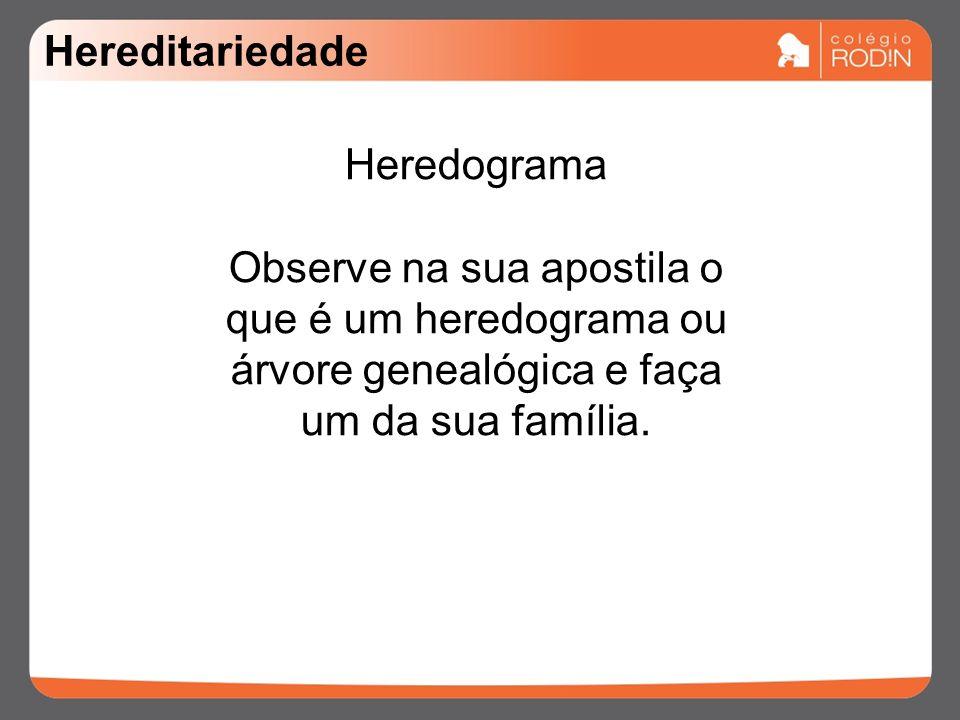 Hereditariedade Heredograma Observe na sua apostila o que é um heredograma ou árvore genealógica e faça um da sua família.