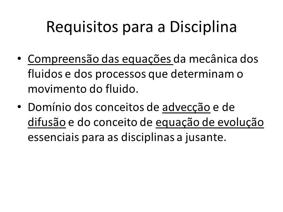 Requisitos para a Disciplina Compreensão das equações da mecânica dos fluidos e dos processos que determinam o movimento do fluido.