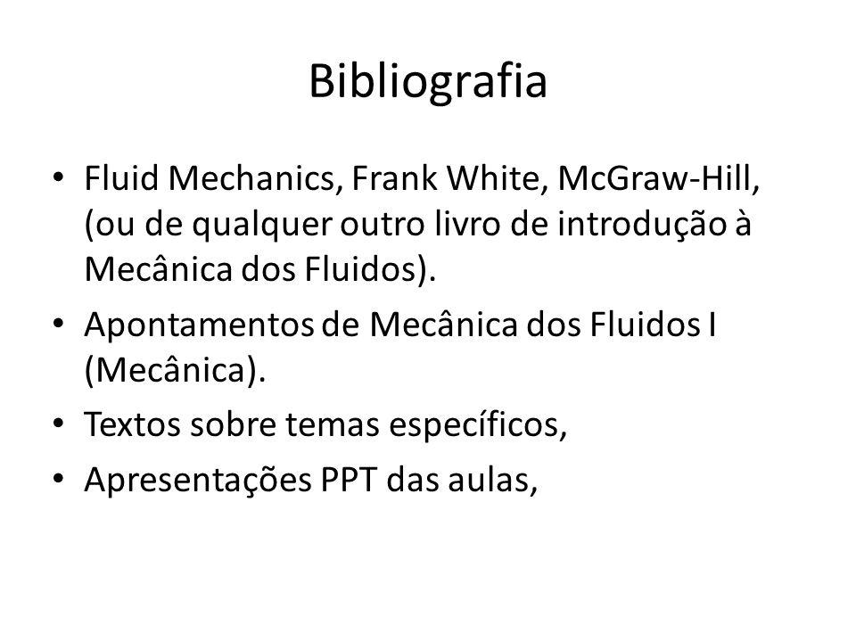 Bibliografia Fluid Mechanics, Frank White, McGraw-Hill, (ou de qualquer outro livro de introdução à Mecânica dos Fluidos).
