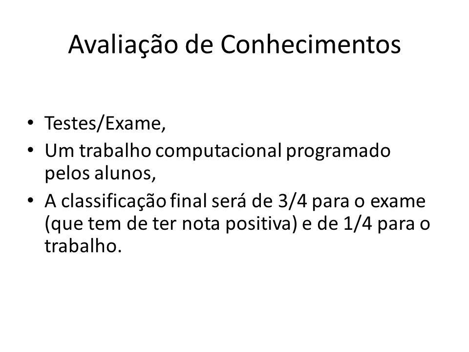 Avaliação de Conhecimentos Testes/Exame, Um trabalho computacional programado pelos alunos, A classificação final será de 3/4 para o exame (que tem de ter nota positiva) e de 1/4 para o trabalho.