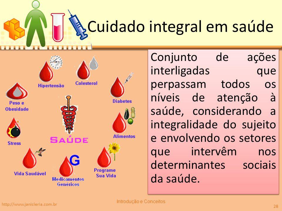 Cuidado integral em saúde Conjunto de ações interligadas que perpassam todos os níveis de atenção à saúde, considerando a integralidade do sujeito e e