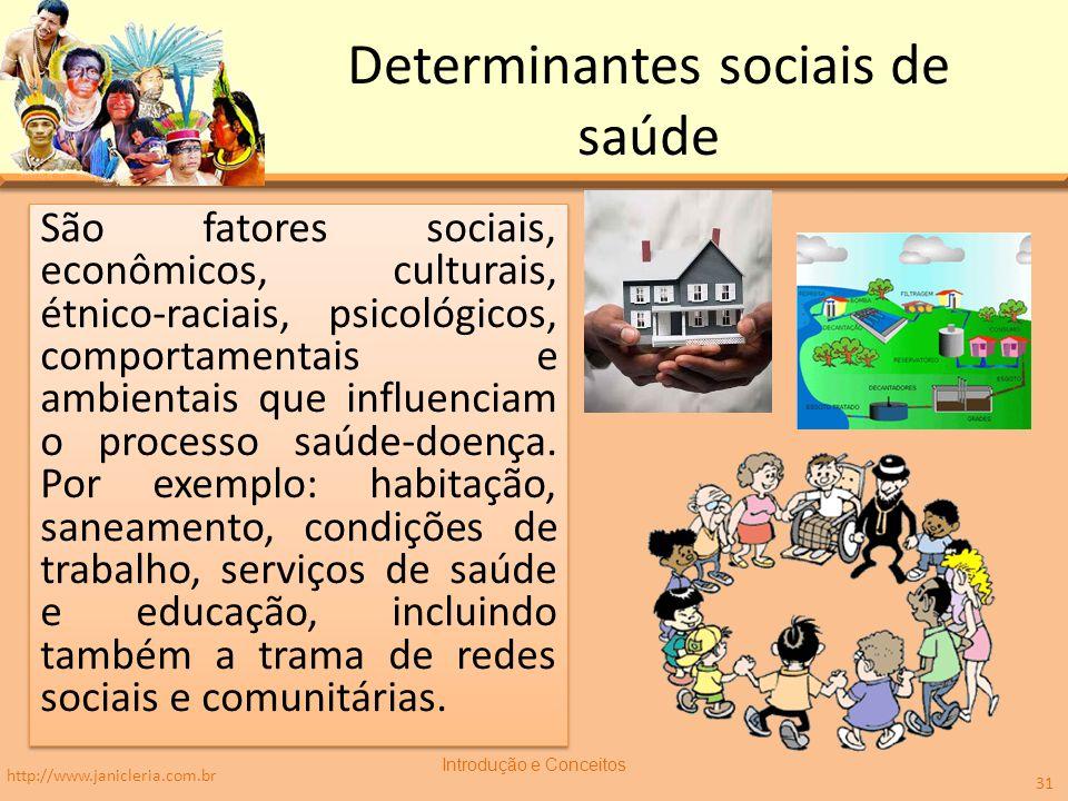 Determinantes sociais de saúde São fatores sociais, econômicos, culturais, étnico-raciais, psicológicos, comportamentais e ambientais que influenciam o processo saúde-doença.