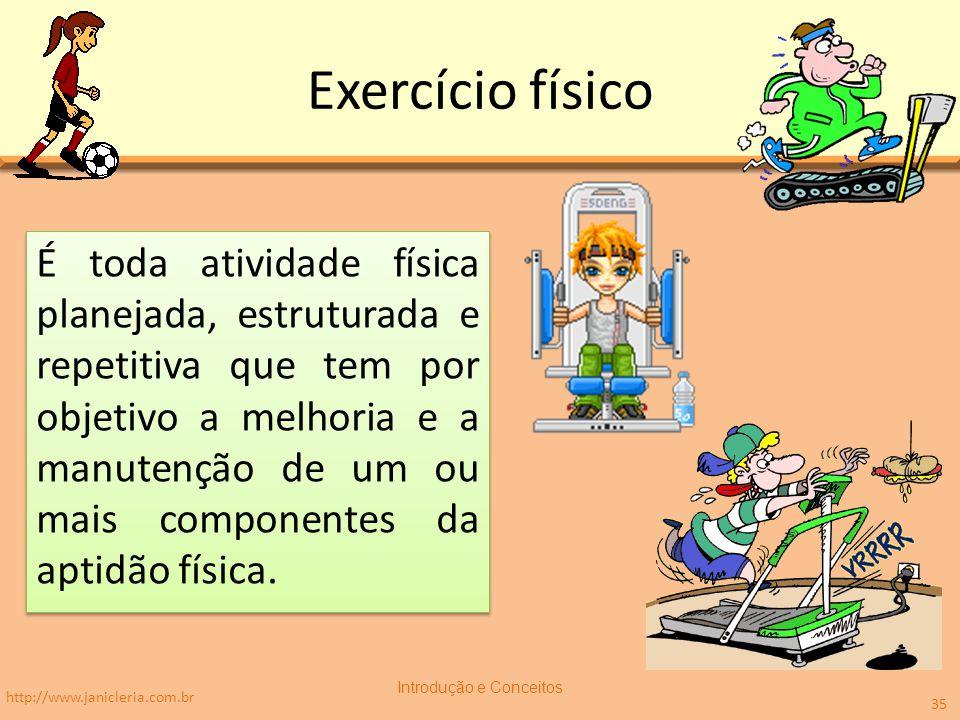 Exercício físico É toda atividade física planejada, estruturada e repetitiva que tem por objetivo a melhoria e a manutenção de um ou mais componentes