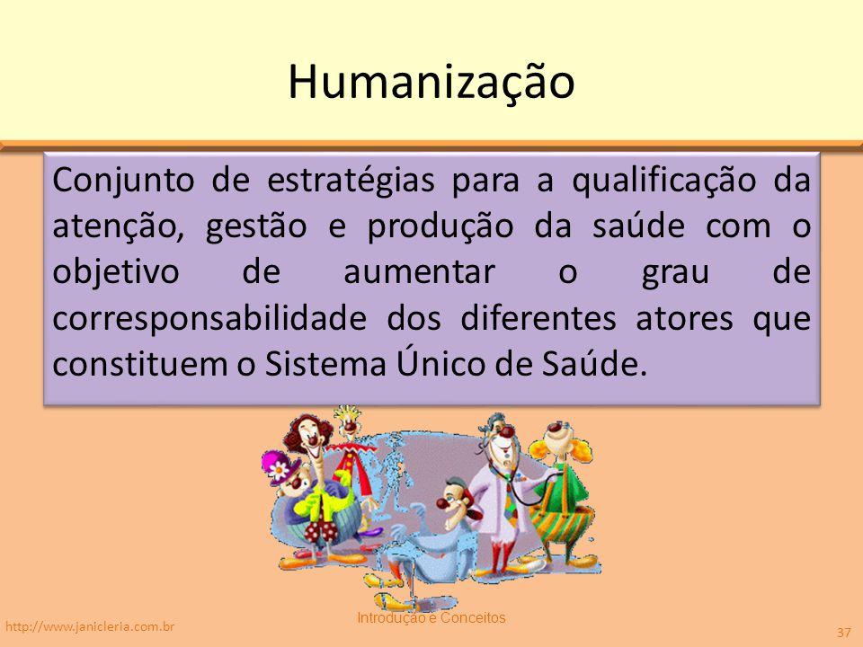 Humanização Conjunto de estratégias para a qualificação da atenção, gestão e produção da saúde com o objetivo de aumentar o grau de corresponsabilidade dos diferentes atores que constituem o Sistema Único de Saúde.