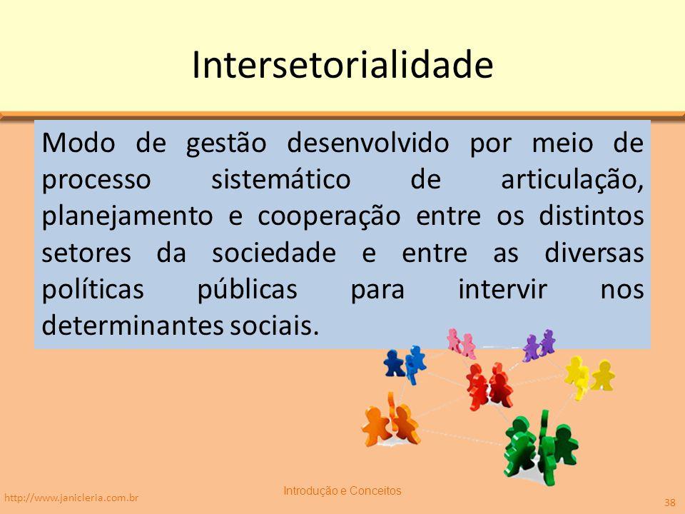 Intersetorialidade Modo de gestão desenvolvido por meio de processo sistemático de articulação, planejamento e cooperação entre os distintos setores da sociedade e entre as diversas políticas públicas para intervir nos determinantes sociais.