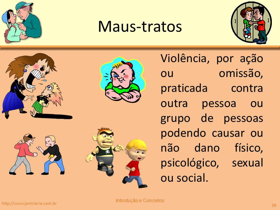 Maus-tratos Violência, por ação ou omissão, praticada contra outra pessoa ou grupo de pessoas podendo causar ou não dano físico, psicológico, sexual ou social.
