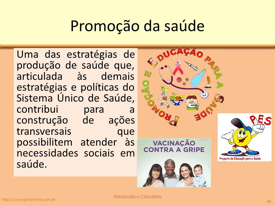 Promoção da saúde Uma das estratégias de produção de saúde que, articulada às demais estratégias e políticas do Sistema Único de Saúde, contribui para
