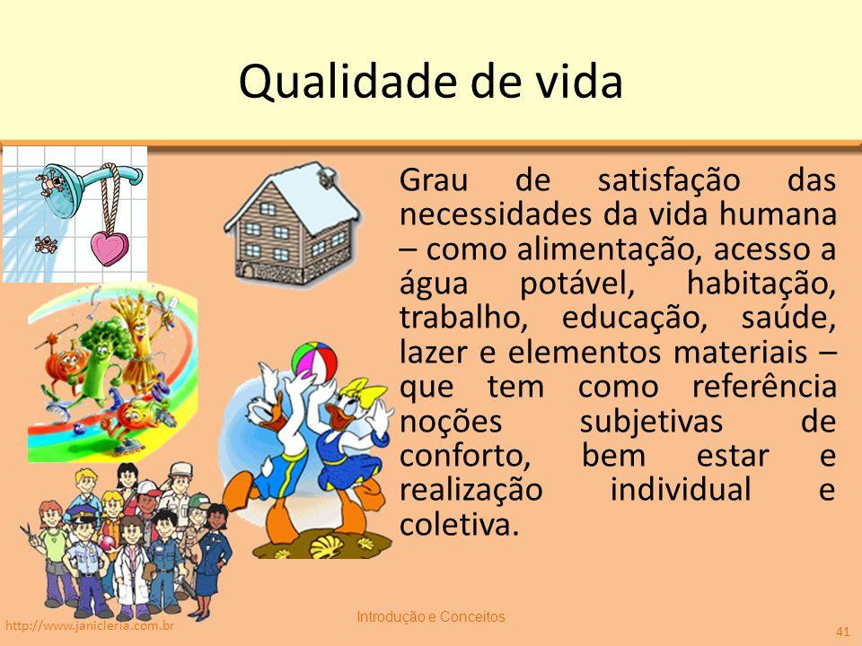 Qualidade de vida Grau de satisfação das necessidades da vida humana – como alimentação, acesso a água potável, habitação, trabalho, educação, saúde,