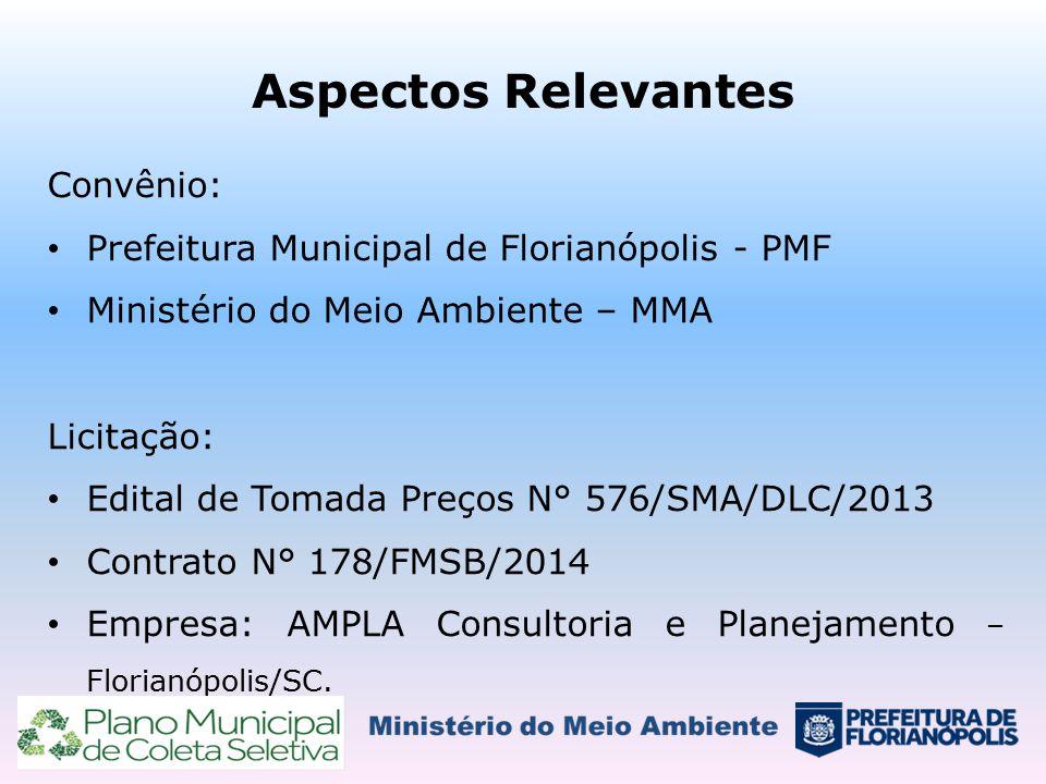 Aspectos Relevantes Convênio: Prefeitura Municipal de Florianópolis - PMF Ministério do Meio Ambiente – MMA Licitação: Edital de Tomada Preços N° 576/