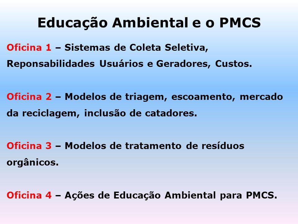 Educação Ambiental e o PMCS Oficina 1 – Sistemas de Coleta Seletiva, Reponsabilidades Usuários e Geradores, Custos. Oficina 2 – Modelos de triagem, es