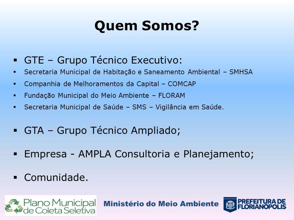 Quem Somos?  GTE – Grupo Técnico Executivo:  Secretaria Municipal de Habitação e Saneamento Ambiental – SMHSA  Companhia de Melhoramentos da Capita