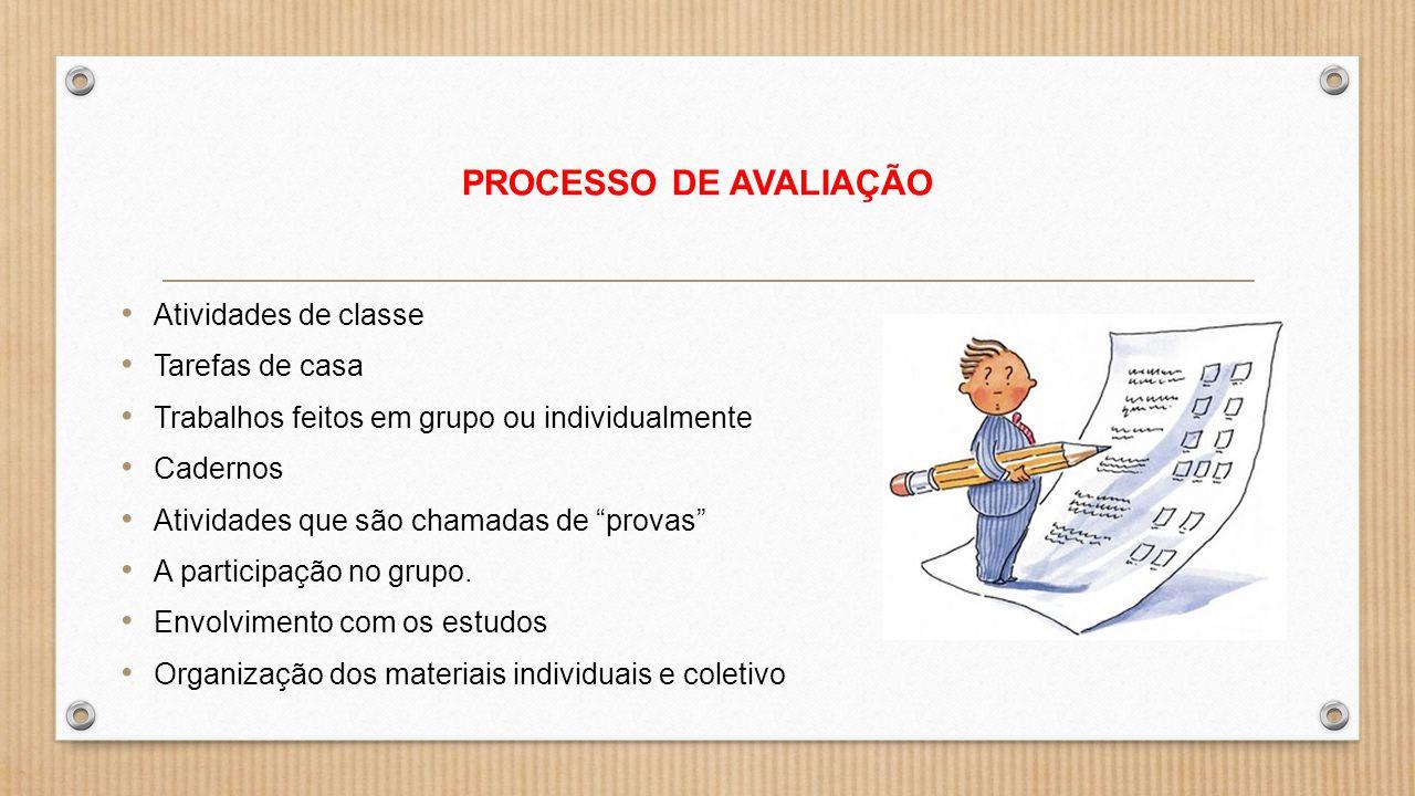 """PROCESSO DE AVALIAÇÃO Atividades de classe Tarefas de casa Trabalhos feitos em grupo ou individualmente Cadernos Atividades que são chamadas de """"prova"""