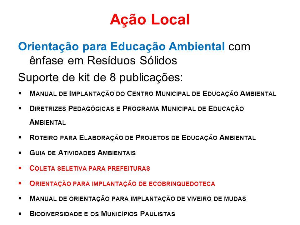 Ação Local Orientação para Educação Ambiental com ênfase em Resíduos Sólidos Suporte de kit de 8 publicações:  M ANUAL DE I MPLANTAÇÃO DO C ENTRO M U