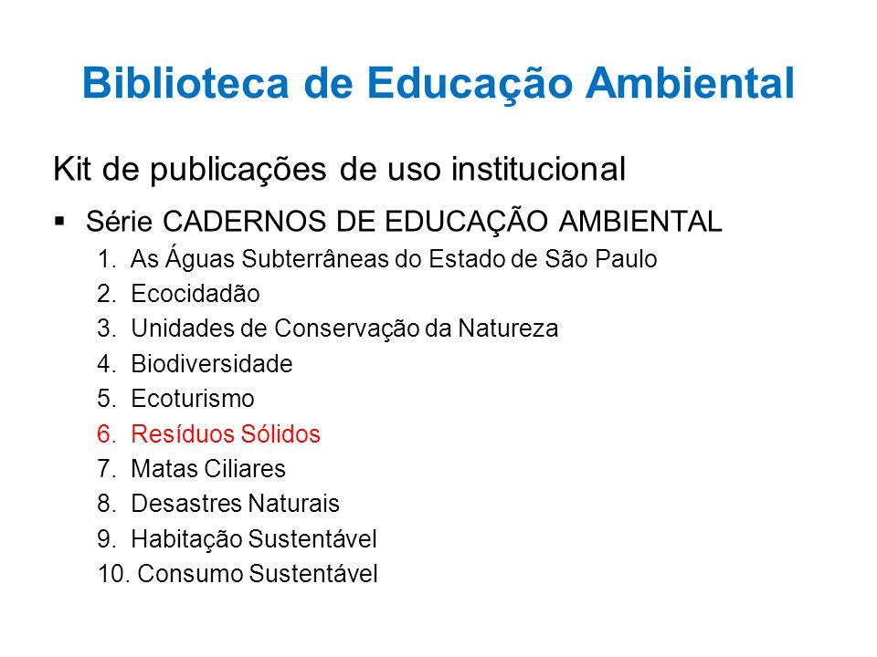 Biblioteca de Educação Ambiental Kit de publicações de uso institucional  Série CADERNOS DE EDUCAÇÃO AMBIENTAL 1. As Águas Subterrâneas do Estado de