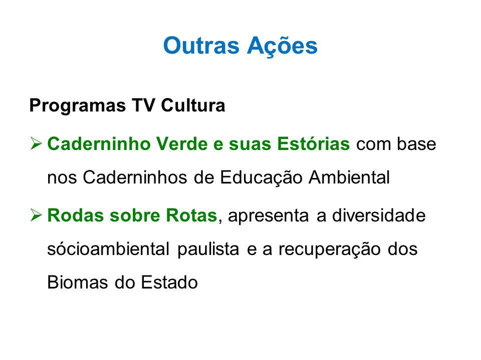Outras Ações Programas TV Cultura  Caderninho Verde e suas Estórias com base nos Caderninhos de Educação Ambiental  Rodas sobre Rotas, apresenta a d