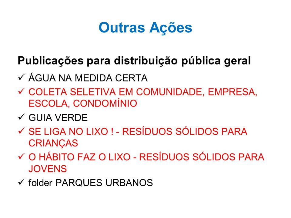 Outras Ações Publicações para distribuição pública geral ÁGUA NA MEDIDA CERTA COLETA SELETIVA EM COMUNIDADE, EMPRESA, ESCOLA, CONDOMÍNIO GUIA VERDE SE