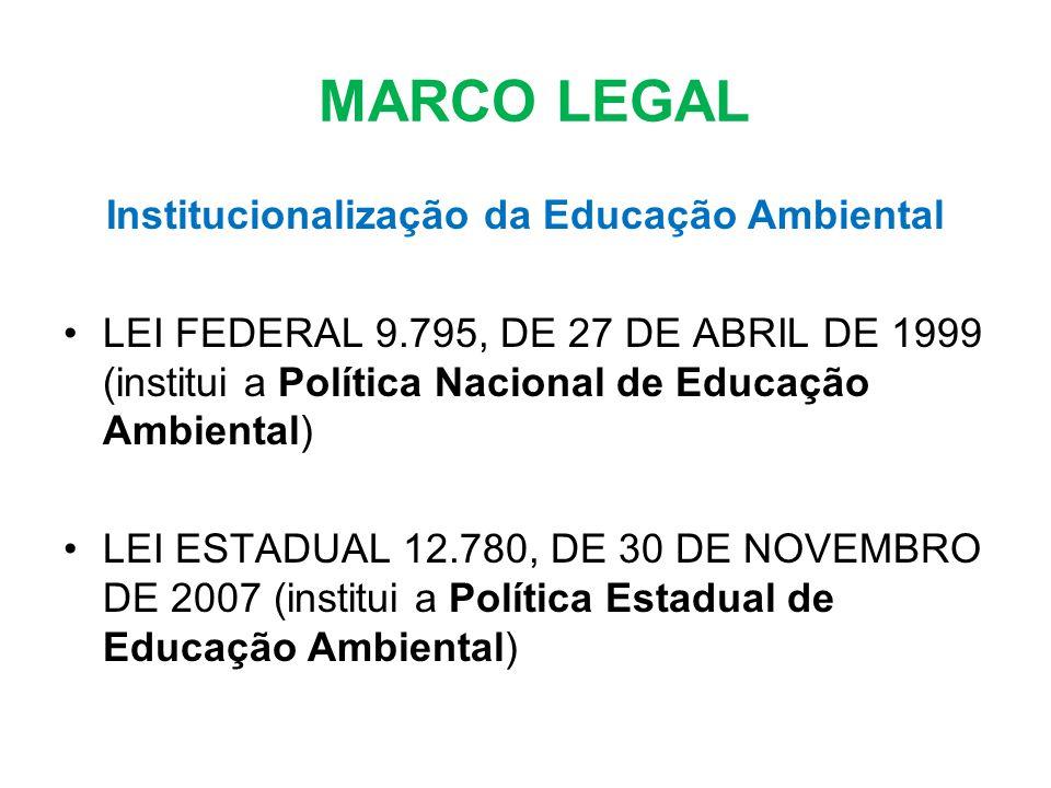 MARCO LEGAL Institucionalização da Educação Ambiental LEI FEDERAL 9.795, DE 27 DE ABRIL DE 1999 (institui a Política Nacional de Educação Ambiental) L
