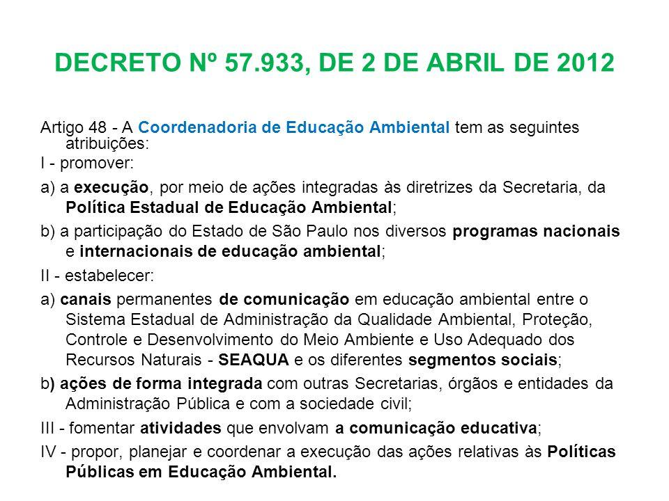 DECRETO Nº 57.933, DE 2 DE ABRIL DE 2012 Artigo 48 - A Coordenadoria de Educação Ambiental tem as seguintes atribuições: I - promover: a) a execução,