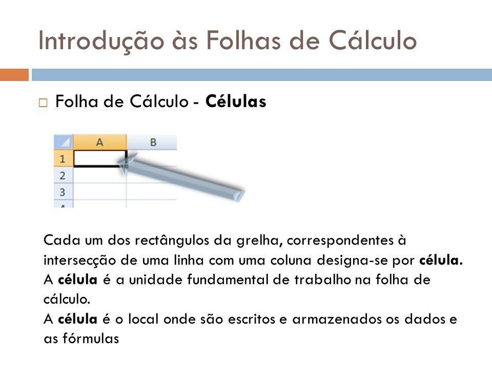 Introdução às Folhas de Cálculo  Folha de Cálculo - Células Cada um dos rectângulos da grelha, correspondentes à intersecção de uma linha com uma col