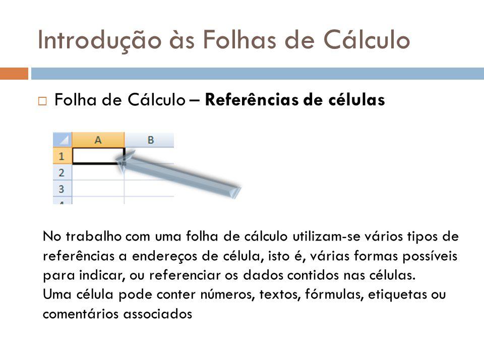 Introdução às Folhas de Cálculo  Folha de Cálculo – Referências de células No trabalho com uma folha de cálculo utilizam-se vários tipos de referênci