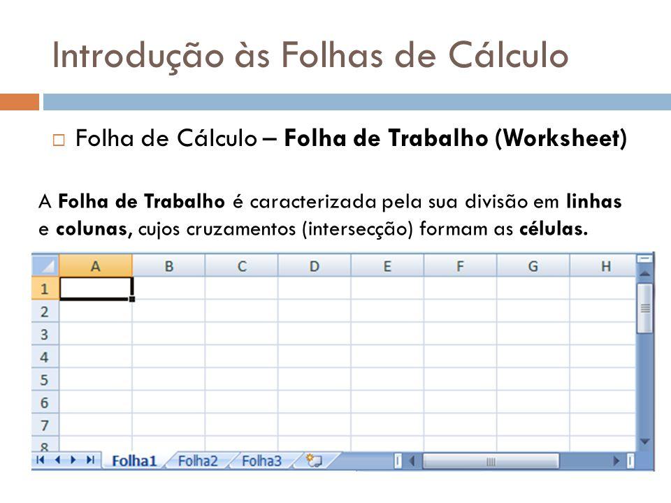 Introdução às Folhas de Cálculo  Folha de Cálculo – Folha de Trabalho (Worksheet) A Folha de Trabalho é caracterizada pela sua divisão em linhas e co