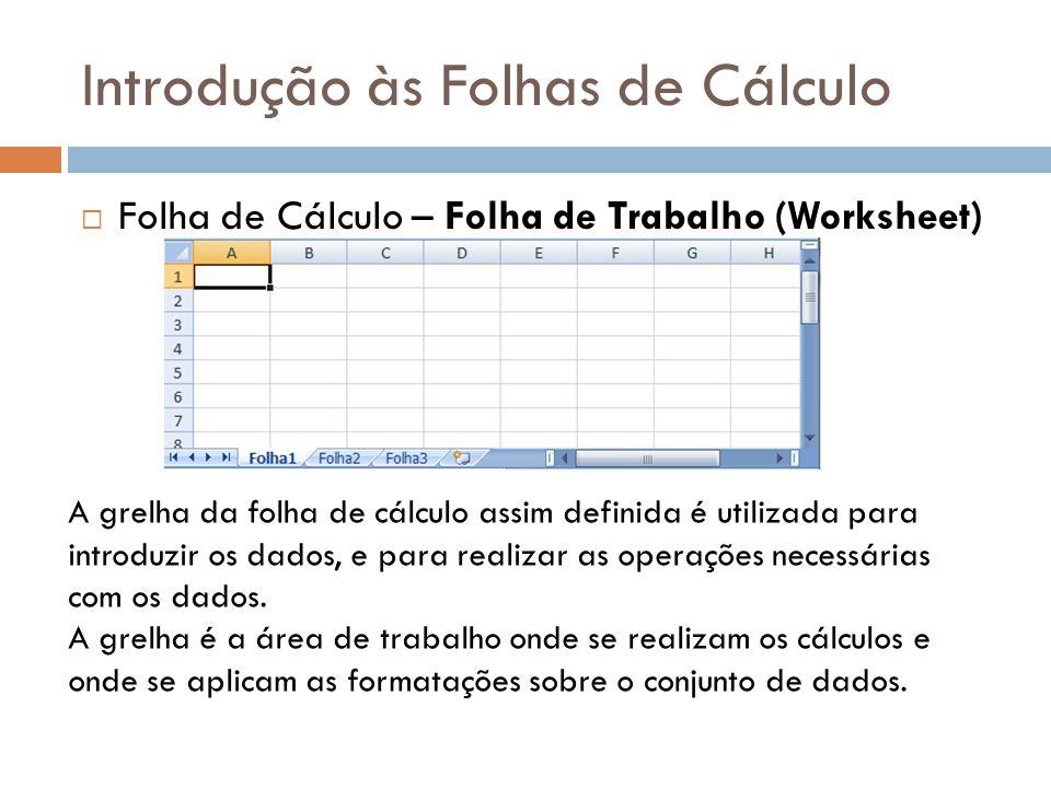 Introdução às Folhas de Cálculo  Folha de Cálculo – Folha de Trabalho (Worksheet) A grelha da folha de cálculo assim definida é utilizada para introd