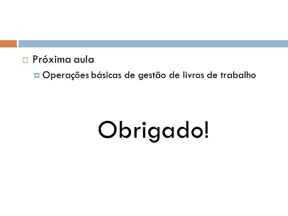  Próxima aula  Operações básicas de gestão de livros de trabalho Obrigado!