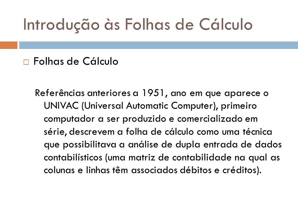 Introdução às Folhas de Cálculo  Folha de Cálculo - Conceito Uma folha de cálculo electrónico, também chamada planilha de cálculo electrónico, é uma aplicação de cálculo, análise e representação gráfica de dados.