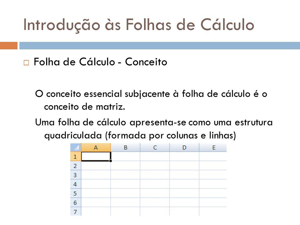 Introdução às Folhas de Cálculo  Folha de Cálculo – Folha de Trabalho (Worksheet) A Folha de Trabalho é caracterizada pela sua divisão em linhas e colunas, cujos cruzamentos (intersecção) formam as células.