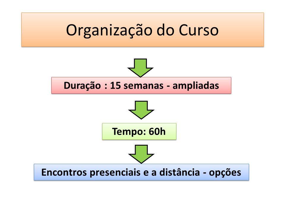 Organização do Curso Duração : 15 semanas - ampliadas Tempo: 60h Encontros presenciais e a distância - opções