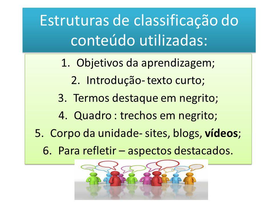 Estruturas de classificação do conteúdo utilizadas: 1.Objetivos da aprendizagem; 2.Introdução- texto curto; 3.Termos destaque em negrito; 4.Quadro : t
