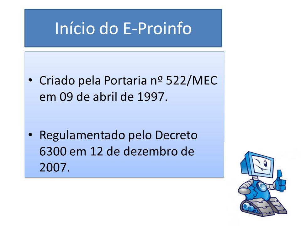 Início do E-Proinfo Criado pela Portaria nº 522/MEC em 09 de abril de 1997. Regulamentado pelo Decreto 6300 em 12 de dezembro de 2007. Criado pela Por
