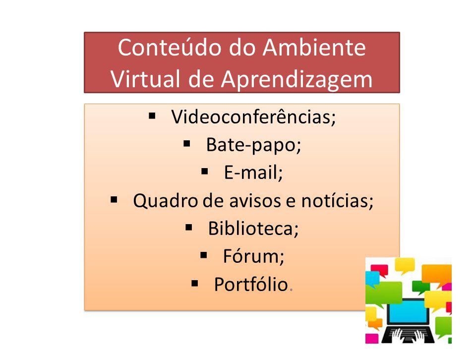 Conteúdo do Ambiente Virtual de Aprendizagem  Videoconferências;  Bate-papo;  E-mail;  Quadro de avisos e notícias;  Biblioteca;  Fórum;  Portfólio.