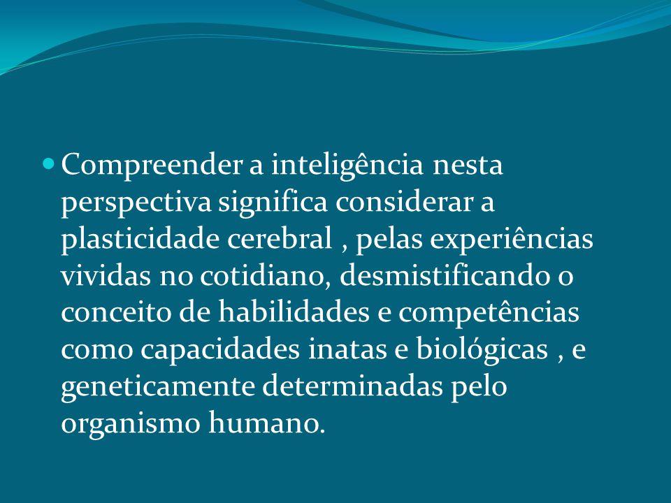 Compreender a inteligência nesta perspectiva significa considerar a plasticidade cerebral, pelas experiências vividas no cotidiano, desmistificando o conceito de habilidades e competências como capacidades inatas e biológicas, e geneticamente determinadas pelo organismo humano.