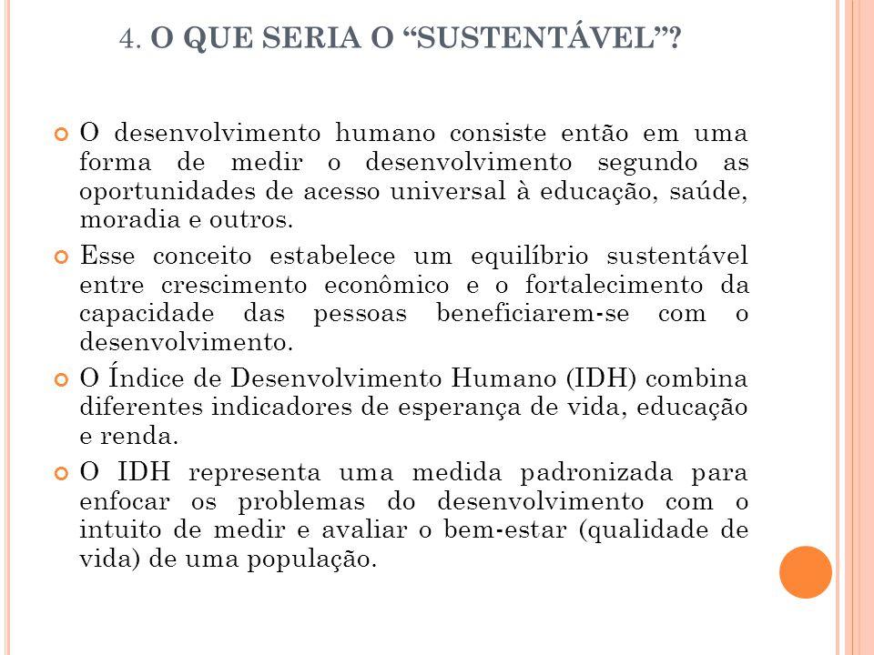 """4. O QUE SERIA O """"SUSTENTÁVEL""""? O desenvolvimento humano consiste então em uma forma de medir o desenvolvimento segundo as oportunidades de acesso uni"""