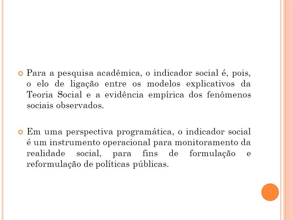 Para a pesquisa acadêmica, o indicador social é, pois, o elo de ligação entre os modelos explicativos da Teoria Social e a evidência empírica dos fenô