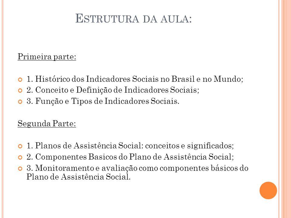 E STRUTURA DA AULA : Primeira parte: 1. Histórico dos Indicadores Sociais no Brasil e no Mundo; 2. Conceito e Definição de Indicadores Sociais; 3. Fun
