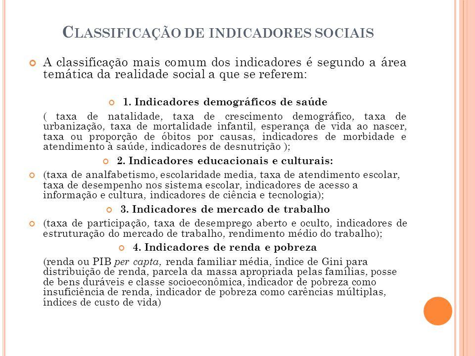 C LASSIFICAÇÃO DE INDICADORES SOCIAIS A classificação mais comum dos indicadores é segundo a área temática da realidade social a que se referem: 1. In