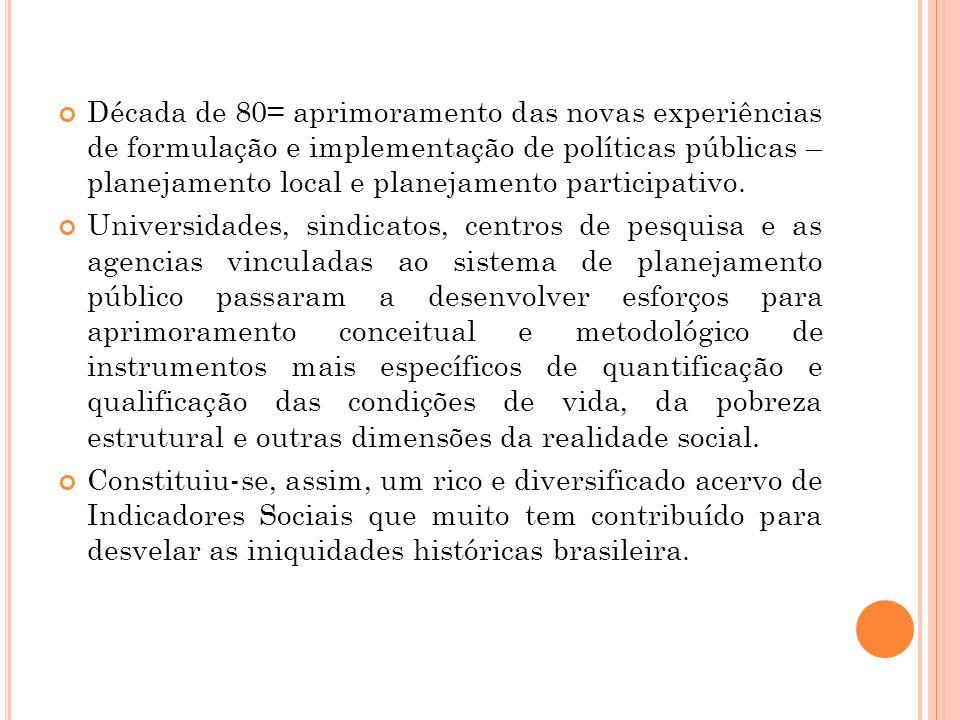Década de 80= aprimoramento das novas experiências de formulação e implementação de políticas públicas – planejamento local e planejamento participati