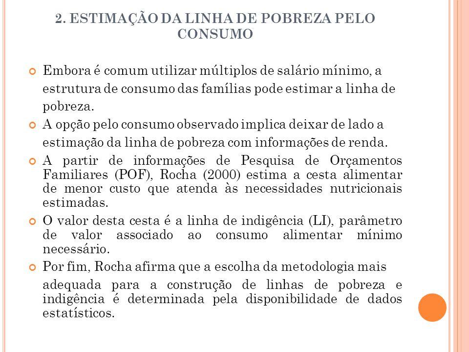 2. ESTIMAÇÃO DA LINHA DE POBREZA PELO CONSUMO Embora é comum utilizar múltiplos de salário mínimo, a estrutura de consumo das famílias pode estimar a