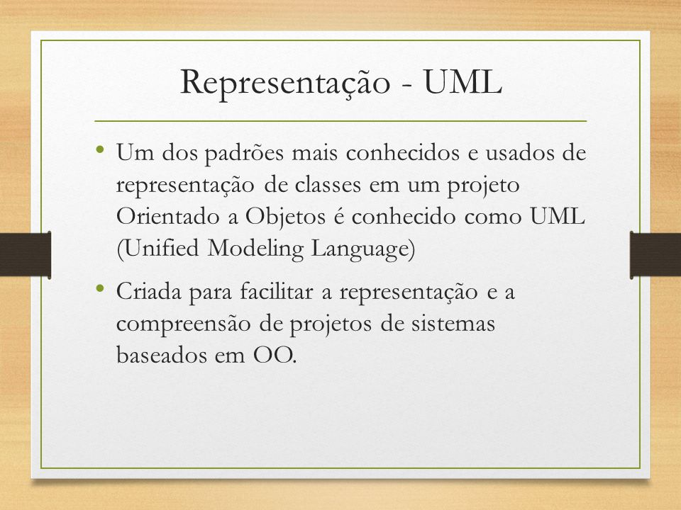 Representação UML Notação de Classe