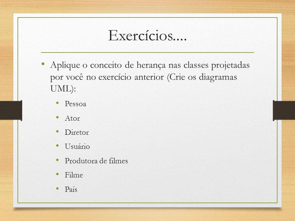 Exercícios.... Aplique o conceito de herança nas classes projetadas por você no exercício anterior (Crie os diagramas UML): Pessoa Ator Diretor Usuári