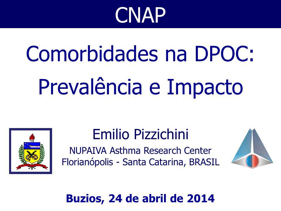 CNAP Buzios, 24 de abril de 2014 Emilio Pizzichini NUPAIVA Asthma Research Center Florianópolis - Santa Catarina, BRASIL Comorbidades na DPOC: Prevalência e Impacto