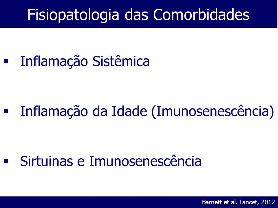Fisiopatologia das Comorbidades Modified from Stampfli and Anderson, Nature Reviews Immunology, 2009Barnett et al. Lancet, 2012  Inflamação Sistêmica
